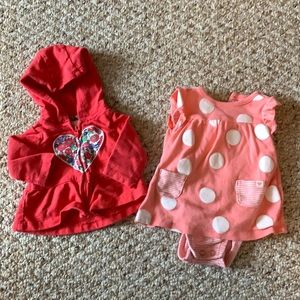 Carters Newborn Girl heart Hoodie and OnePiece Set
